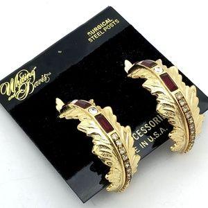 Whiting & Davis Earrings Hoop Rhinestones on Gold